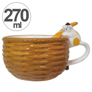 スープカップ バスケット 三毛猫 270m
