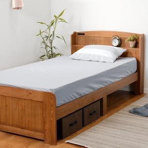 ベッド 木製 高さ2段調節 セミダブル 高さ2段調節 コンセント付 ( ベット フレーム 高さ 調節 調整 棚 収納 付き )|colorfulbox|17