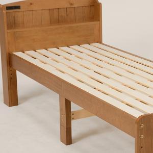 ベッド 木製 高さ2段調節 セミダブル 高さ2段調節 コンセント付 ( ベット フレーム 高さ 調節 調整 棚 収納 付き )|colorfulbox|18