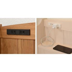 ベッド 木製 高さ2段調節 セミダブル 高さ2段調節 コンセント付 ( ベット フレーム 高さ 調節 調整 棚 収納 付き )|colorfulbox|05