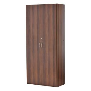 可動棚でムダなく収納できるウォールナット調のシンプルなハイシェルフです。全面扉付きでたくさん収納して...