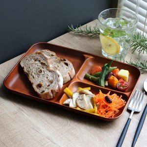 ランチ皿 27cm SEE 仕切皿 ワンプレート プラスチック 食器 皿 日本製 おしゃれ 同色5枚セット ( 電子レンジ対応 食洗機対応 木製風 ランチプレート 木目調 ) colorfulbox 06