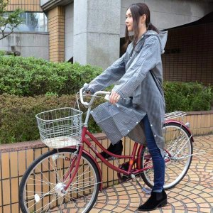 レインコート カッパ スリット入り 自転車 大人用 フリーサイズ 着丈115cm ギンガムチェック ( レインウェア 雨カッパ 雨具 )|colorfulbox