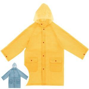 レインコート カッパ こども用 キッズレインコート 着丈70cm ギンガムチェック ( レインウェア 雨カッパ 雨具 )|colorfulbox