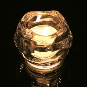 キャンドルホルダー ロックアイス ガラス製 ( キャンドルスタンド キャンドルグラス ろうそく立て ...