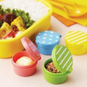 調味料ケース お弁当用調味料入れ ミニカップ フタ付き ドット&ボーダー 4個組 丸型 ( お弁当グッズ 調味料入れ 小物入れ )|colorfulbox
