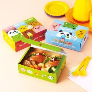 お弁当箱 ランチボックス うきうきアニマル 使い捨て弁当箱 ( 紙パック 折り箱 折箱 使い捨て用 )|colorfulbox