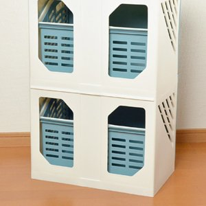 ランドリーボックス Clevan 3段 2台セット ランドリーラック 洗濯かご キャスター付 ( ランドリーバスケット ストッカー 収納ラック ) colorfulbox 06