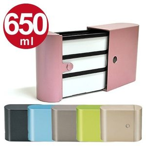 お弁当箱 ランチボックス スリム 3段 タワー型 BENTO 650ml ( 弁当箱 ケース付 食洗機対応 )|colorfulbox