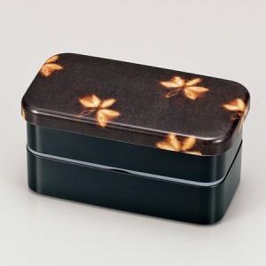 お弁当箱 HAKOYA 布貼長角 2段 和風柄 花カスリ茶|colorfulbox