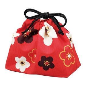 お弁当袋 ランチ巾着 HAKOYA 朱華文様梅 ( 和柄 巾着 )|colorfulbox
