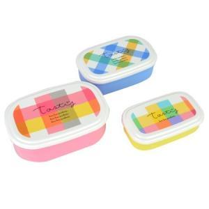 お弁当箱 シール容器 La Palette ラ・パレット 3個入 ピンク ( 弁当箱 ランチボックス 保存容器 )|colorfulbox