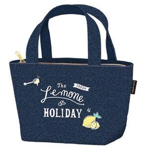 ランチバッグ トートバッグ 保冷バッグ レモン&ホリデー ファスナー付 ( 保冷ランチバッグ お弁当袋 お弁当バッグ )|colorfulbox