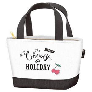 ランチバッグ トートバッグ 保冷バッグ チェリー&ホリデー ファスナー付 ( 保冷ランチバッグ お弁当袋 お弁当バッグ )|colorfulbox