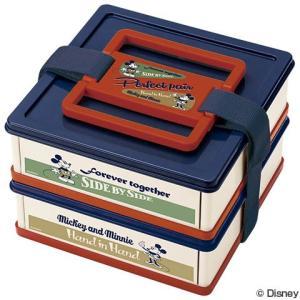 お弁当箱 ピクニックケース 折りたたみ ミッキーマウス バッジコレクション 上下段同形状 2個タイプ ( 行楽 ピクニック 折り畳み ランチボックス )|colorfulbox