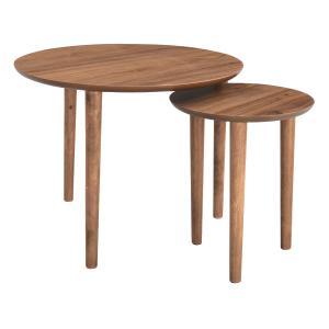 大小のテーブルを入れ子式に出し入れして使用する、ネストテーブル。小テーブルを使用しない時は中に入れて...