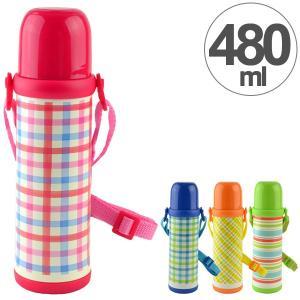 水筒 2WAY ボトル 480ml ステンレス製 スマイルピート 直飲み コップ付き ( 約 500ml 保冷 保温 機能付き ショルダーベルト付き )|colorfulbox