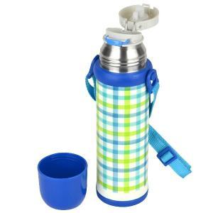 水筒 2WAY ボトル 480ml ステンレス製 スマイルピート 直飲み コップ付き ( 約 500ml 保冷 保温 機能付き ショルダーベルト付き ) colorfulbox 06