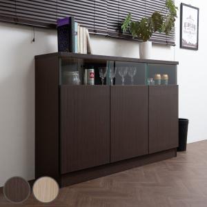 カウンター下収納 リビングキャビネット サイドボード 3枚扉 幅120cm ブラウン ( リビング収納 キッチン収納 収納棚 )の写真