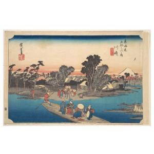 川崎 歌川広重(東海道五十三次) 手漉き和紙塗り絵 西嶋和紙|colorof