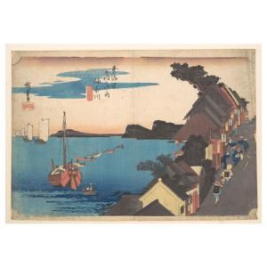神奈川 歌川広重(東海道五十三次) 手漉き和紙塗り絵 西嶋和紙|colorof