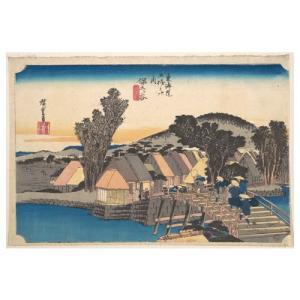 保土ヶ谷 歌川広重(東海道五十三次) 手漉き和紙塗り絵 西嶋和紙|colorof
