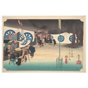 関 歌川広重(東海道五十三次) 手漉き和紙塗り絵|colorof