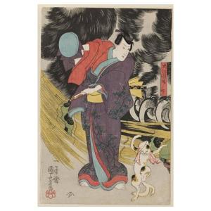 見立東海道五拾三次岡部猫石の由来(左) 歌川国芳 手漉き和紙塗り絵 名塩和紙|colorof