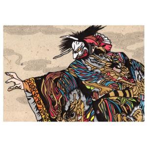 塵輪 田中康太朗(石見神楽) 手漉き和紙塗り絵 石州和紙|colorof