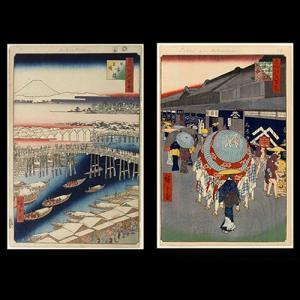 日本橋「江戸名所百景から二景」 手漉き和紙塗り絵 セット商品 名塩和紙|colorof
