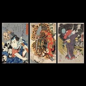 歌川国芳 名塩和紙3色 手漉き和紙塗り絵 セット商品 名塩和紙|colorof