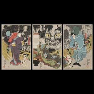 見立東海道五拾三次岡部猫石の由来 手漉き和紙塗り絵 セット商品|colorof
