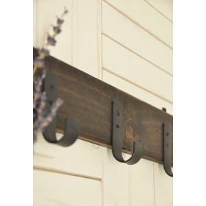 クレエアンティーク調家具 オールドウッドレトロ木製フック3連 9100-0070|colorpage