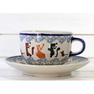 突然のネズミさんの登場に驚く黒と白のぶちネコ!笑ってるのは、薄茶色と白の猫さん  茶色の猫は?水色の...