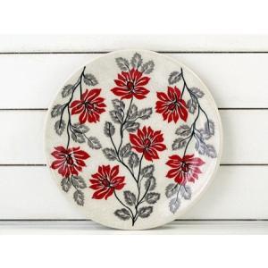 陶器の絵付けで一番高額で難度の高いのは、赤絵の具♪アネモネのお花のイメージです。  柄違いで二枚ある...
