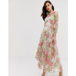 879fd9ca19d32 エイソス マキシドレス レディース ASOS EDITION cutabout maxi dress in red embroidered  floral エイソス ASOS