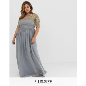 ccc28a5f7da61 ビジューラウンジ ドレス 大きいサイズ レディース Virgos Lounge Plus sheer embellished flutter  sleeve maxi dress in pale grey エイソス ASOS 送料無料 イ