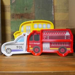 メラミンプレート 消防車 パトカー スクールバス メラミン食器 子供食器|colors-kitchen
