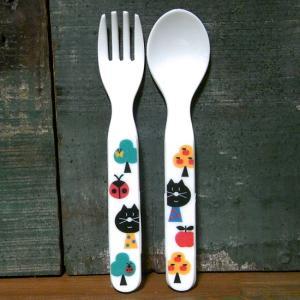 DECOLE デコレ スプーン&フォーク  aurinko アウリンコ ねこ メラミン食器|colors-kitchen