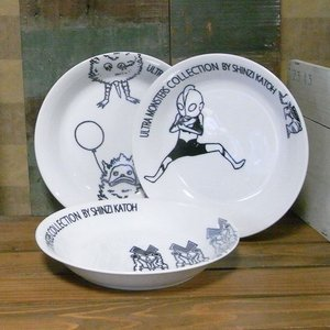 ウルトラマン カレー皿 Shinzi Katoh ウルトラモンスターズコレクション 3枚セット|colors-kitchen
