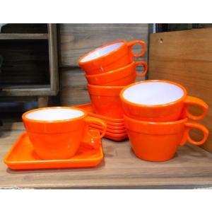 カップ&ソーサー 6客セット オレンジ|colors-kitchen