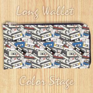 L字ファスナー長財布 カセットテープ柄 カラー Model:LWAT15 名入れ ネーム入れ プレゼント ギフト オリジナルプリント|colorstage