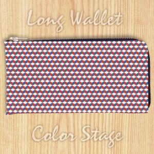 L字ファスナー長財布 トリコロールキューブ Model:LWAT22 名入れ ネーム入れ プレゼント ギフト オリジナルプリント|colorstage