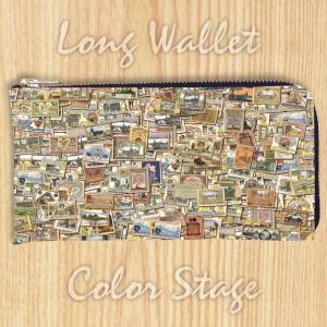 L字ファスナー長財布 postage stamp  Model:LWAT5 名入れ ネーム入れ プレゼント ギフト オリジナルプリント|colorstage