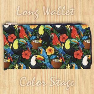 L字ファスナー長財布 インコ オウム オオハシ ハワイアン柄 Model:LWAT57 名入れ ネーム入れ プレゼント ギフト オリジナルプリント|colorstage