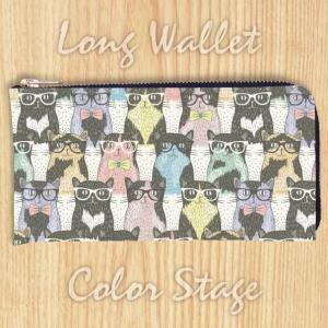 L字ファスナー長財布 メガネねこ 猫柄 Model:LWAT68 名入れ ネーム入れ プレゼント ギフト オリジナルプリント|colorstage