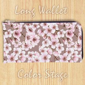 L字ファスナー長財布 和柄 桜 Model:LWAT70 名入れ ネーム入れ プレゼント ギフト オリジナルプリント|colorstage