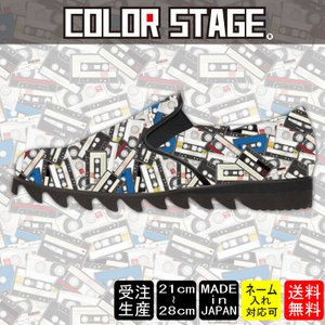 スニーカー スリッポン カセットテープ柄 カラーModel:メンズSLP-M17SS-13|colorstage