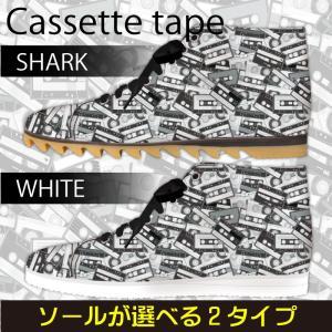 スニーカー ハイカットカセットテープ柄 モノトーン Model:メンズSN-H17SS-14|colorstage