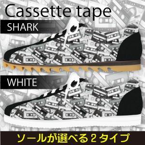 スニーカー ローカット カセットテープ柄 モノトーン Model:メンズSN-L17SS-16|colorstage